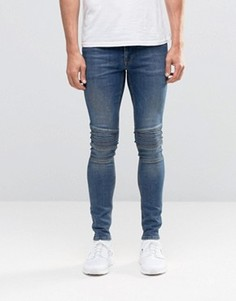 Темные суперузкие джинсы с байкерскими вставками ASOS - Синий