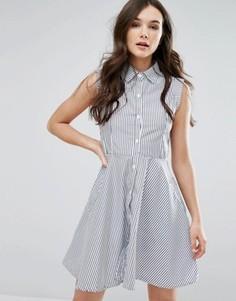 Короткое приталенное платье-рубашка QED London - Белый
