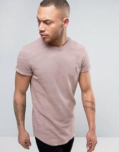 Удлиненная футболка из меланжевого трикотажа с отворотами на рукавах Religion - Розовый
