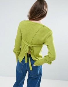 Джемпер с оборками на рукавах и открытой спиной ASOS - Зеленый