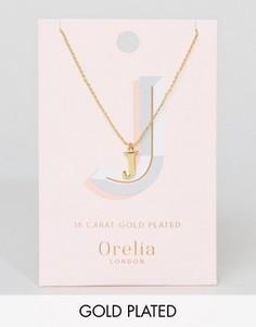 Позолоченное ожерелье с подвеской в виде буквы J Orelia - Золотой