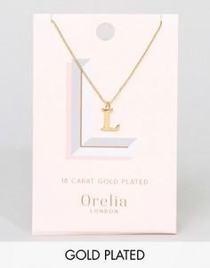 Позолоченное ожерелье с подвеской в виде буквы L Orelia - Золотой