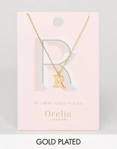 Позолоченное ожерелье с подвеской в виде буквы R Orelia - Золотой