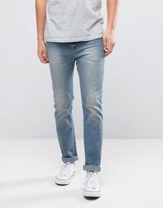 Синие выбеленные джинсы слим WeSC Eddy - Синий