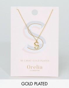 Позолоченное ожерелье с подвеской в виде буквы S Orelia - Золотой