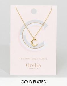 Позолоченное ожерелье с подвеской в виде буквы С Orelia - Золотой