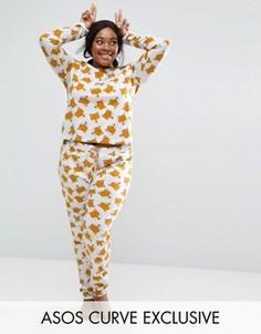 Пижамный лонгслив и штаны с принтом лисиц ASOS CURVE - Мульти