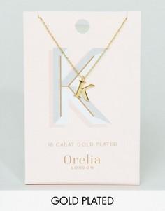 Позолоченное ожерелье с подвеской в виде буквы K Orelia - Золотой