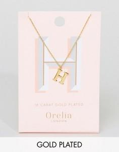 Позолоченное ожерелье с подвеской в виде буквы Н Orelia - Золотой