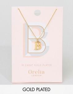 Позолоченное ожерелье с подвеской в виде буквы В Orelia - Золотой
