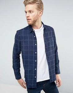 Узкая клетчатая рубашка с начесом Burton Menswear - Синий
