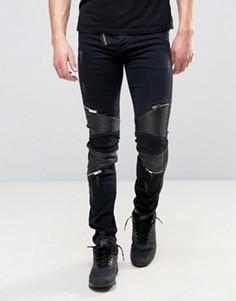 Состаренные джинсы скинни с байкерскими вставками из искусственной кожи Sixth June - Черный