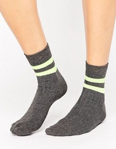 Носки с 2 неоновыми полосками ASOS - Серый