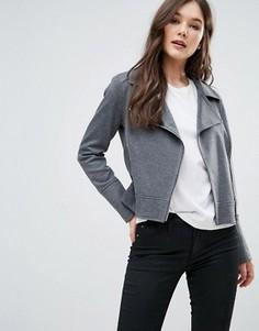 Трикотажная байкерская куртка Helene Berman - Серый