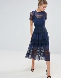 Платье миди с короткими рукавами и кружевом по краю Bodyfrock - Темно-синий