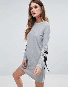 Трикотажное платье с люверсами Boohoo - Серый