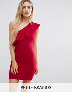 Платье на одно плечо с оборкой Missguided Petite - Красный
