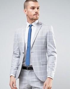 Пиджак суперузкого кроя в клетку Selected Homme - Серый