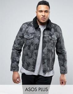 Серая джинсовая куртка с выбеленным эффектом и воротником из искусственного меха ASOS PLUS - Черный