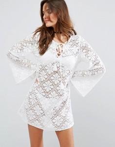 Кружевное пляжное платье с длинными рукавами Floozie - Белый