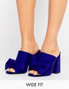 Сабо на каблуке с бантом для широкой стопы New look - Синий
