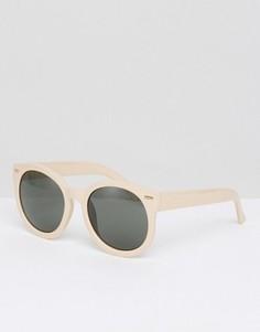 Большие круглые солнцезащитные очки Monki - Бежевый