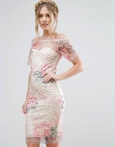 Кружевное платье миди с открытыми плечами и цветочным рисунком Paper Dolls - Мульти