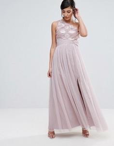 Платье макси на одно плечо Little Mistress - Розовый