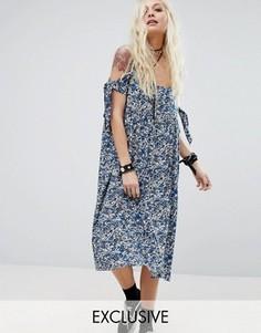 Платье миди с открытыми плечами на завязках Reclaimed - Синий