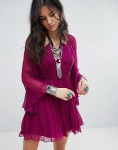 Платье для вечеринок с ярусной отделкой Free People - Фиолетовый