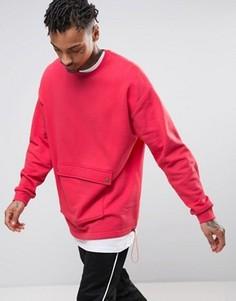 Длинный оversize-свитшот с карманом спереди ASOS - Красный