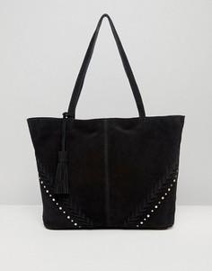 Замшевая сумка-шоппер с заклепками ASOS - Черный