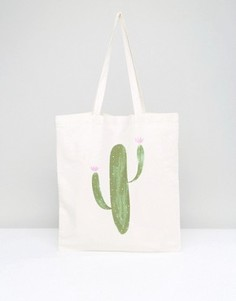 Большая сумка из парусины с кактусом Monki - Зеленый