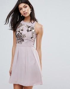 Короткое приталенное платье с декорированным лифом Little Mistress - Розовый