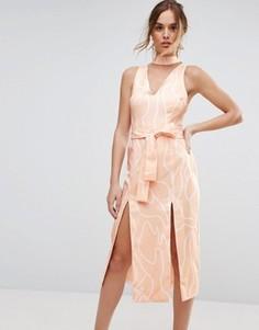 Платье миди с абстрактным принтом и двумя разрезами Lavish Alice - Мульти