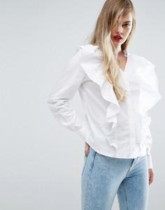Рубашка с V-образным вырезом и оборкой спереди ASOS - Белый