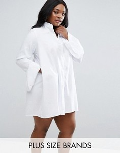 Платье-рубашка с оборками на рукавах Missguided Plus - Белый