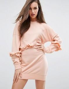 Трикотажное платье с оборками Missguided - Розовый