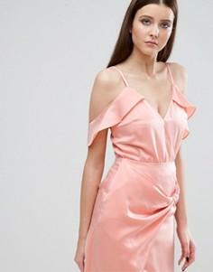 Боди с открытыми плечами и оборками Lavish Alice - Розовый