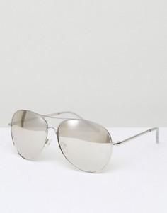 Солнцезащитные очки-авиаторы с зеркальными стеклами New Look - Серебряный