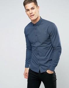 Узкая рубашка с перекрестным принтом Blend - Синий