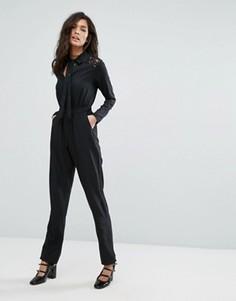 Комбинезон с кружевными вставками на плечах Fashion Union - Черный