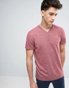 Узкая бордовая футболка с вышивкой логотипа Hollister - Красный