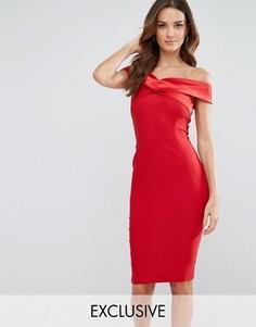 Платье-футляр с открытыми плечами и атласной отделкой Vesper - Красный