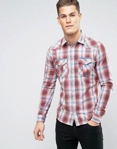 Узкая рубашка в клетку Blend - Красный