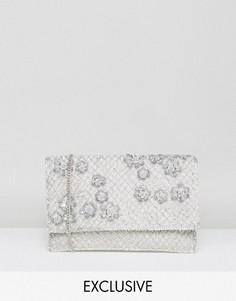 Клатч с цветочной отделкой Amelia Rose - Серебряный