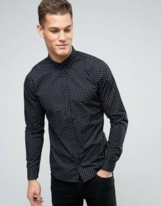 Узкая рубашка с принтом Blend - Черный