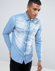 Голубая узкая джинсовая рубашка Blend - Синий