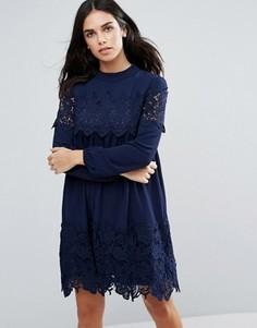 Свободное платье с кружевной отделкой Fashion Union - Черный