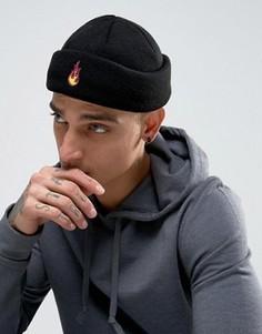 Черная шапка-бини с вышитым пламенем ASOS - Черный